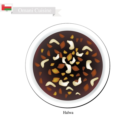 Omani Cuisine, Halwa Showaiter or Traditional Jelly Made with Corn Starch, Saffron and Various nuts. One of The Most Popular Dessert in Oman.