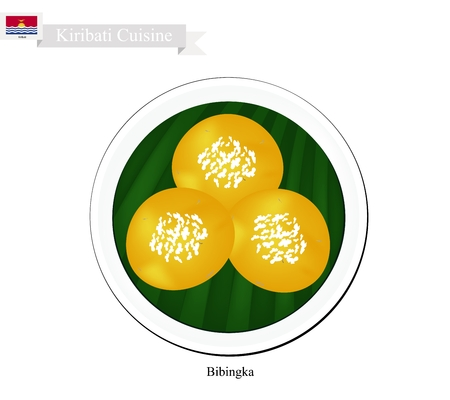 Kiribati Cuisine, Bibingka or Traditional Rice Cakes Made with Ground Rice, Coconut Milk, Egg and Cheese. One of The Most Popular Dessert in Kiribati. Illustration