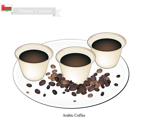 arabic coffee: Oman Cuisine, Arabic Coffee or Coffee Brewed from Dark Roast Coffee Beans Spiced with Cardamom. One of The Popular Beverage in Oman.