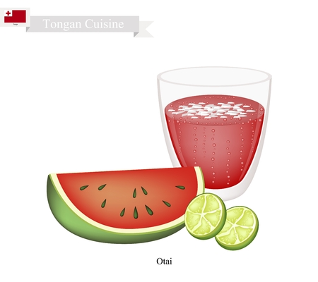 shredded: Tongan Cuisine, Watermelon Otai or Traditional Drink Made From Watermelon and Coconut Cream. One of The Most Popular Drink in Tonga.
