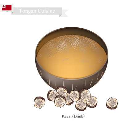 most popular: Tongan Cuisine, Illustration of Kava Drink or Traditional Beverage Made From The Roots of The Kava Plant Mixed with Water. One of The Most Popular Drink in Tonga.