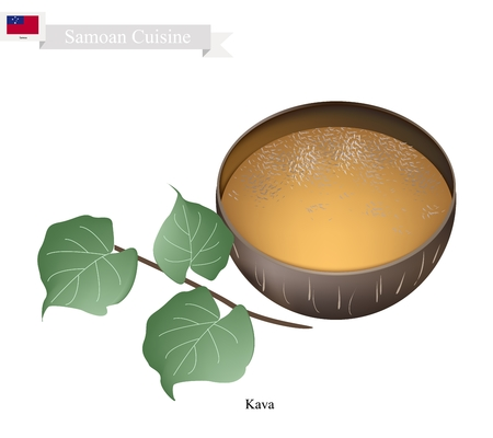mixed drink: Samoan Cuisine, Illustration of Kava Drink or Traditional Beverage Made From The Roots of The Kava Plant Mixed with Water. One of The Most Popular Drink in Samoa.