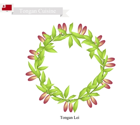 lei: Tonga Flower, Illustration of Tongan Lei or Tonga Garland Made From Heilala Flowers for Wedding, Birthday and Graduation Celebrations.