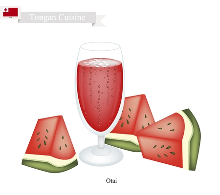 shredded: Tongan Cuisine, Watermelon Otai or Traditional Drink Made From Watermelon and Coconut Cream. One of The Most Famous Drink in Tonga. Illustration