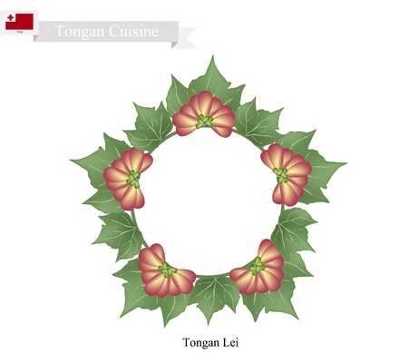 lei: Tonga Flower, Illustration of Tongan Lei or Tonga Garland Made From Heilala or Garcinia Sessili Flowers and Green Leaves for Birthday, Wedding and Graduation Celebrations.