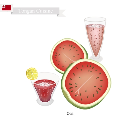 shredding: Tongan Cuisine, Watermelon Otai or Traditional Drink Made From Watermelon and Coconut Milk. One of The Most Famous Drink in Tonga.