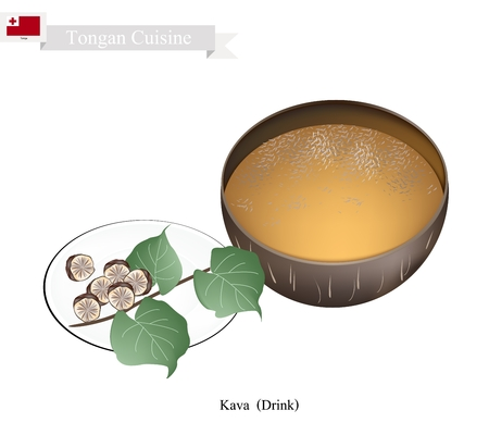 mixed drink: Tongan Cuisine, Illustration of Kava Drink or Traditional Beverage Made From The Roots of Kava Plant Mixed with Water. One of The Most Popular Drink in Tonga. Illustration