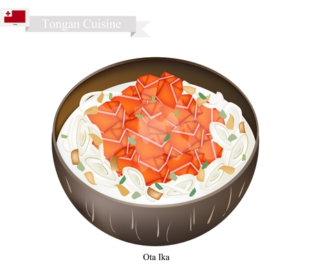 Tongan Cuisine, Ota Ika  or Traditional Raw Fish Marinated in Citrus Juice and Coconut Cream. One of The Most Famous Dish in Tongan.