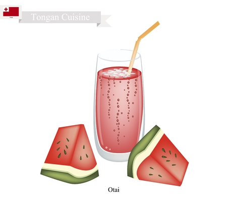 shredding: Tongan Cuisine, Watermelon Otai or Traditional Drink Made From Watermelon and Coconut Milk. One of The Most Popular Drink in Tonga. Illustration