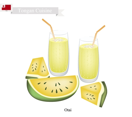 shredded: Tongan Cuisine, Watermelon Otai or Traditional Drink Made From Yellow Watermelon and Coconut Milk. One of The Most Popular Drink in Tonga. Illustration