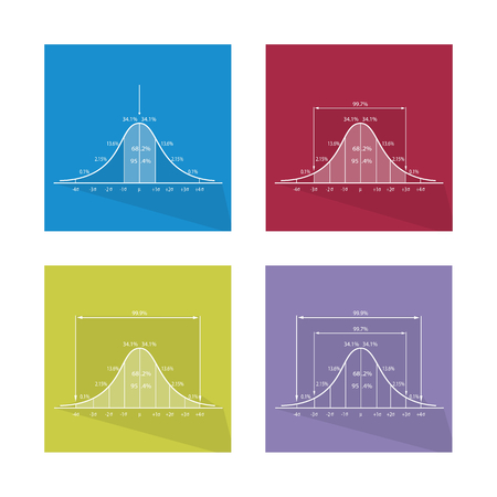 gaussian distribution: Flat Icons, Illustration Set of 3 Standard Deviations Gaussian Bell or Normal Distribution Curve Charts. Illustration