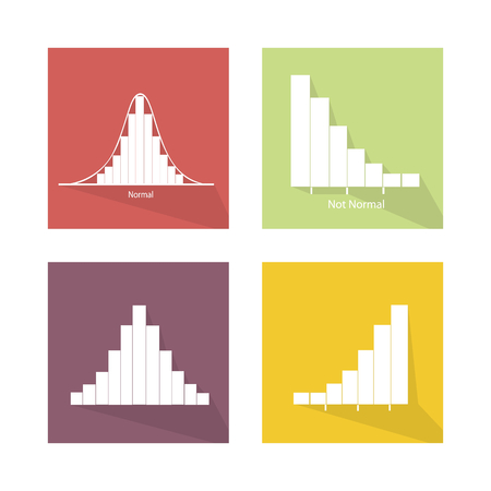 gaussian distribution: Flat Icons, Illustration Set of 4 Gaussian Bell or Normal Distribution Curve and Not Normal Distribution Curve.