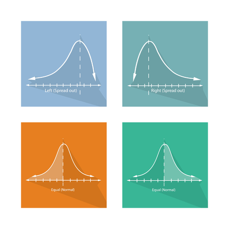 normal distribution: Flat Icons, Illustration Set of Positve and Negative Distribution Curve and Normal Distribution Curve Graphs. Illustration