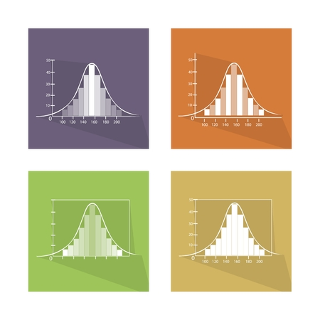 gaussian distribution: Flat Icons, Illustration Set of 4 Gaussian, Bell or Normal Distribution Curve with Bar Chart Labels.