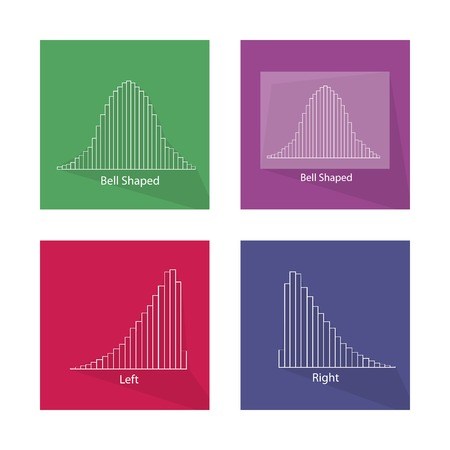 standard deviation: Flat Icons, Illustration Set of Gaussian Bell Chart or Normal Distribution Curve and Not Normal Distribution Curve.