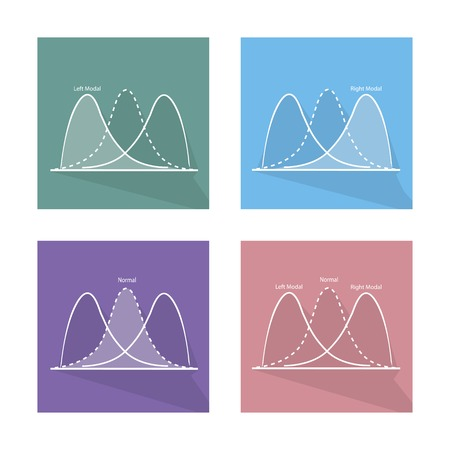 gaussian distribution: Flat Icons, Collection of Gaussian Bell Chart or Normal Distribution Curve and Not Normal Distribution Curve.