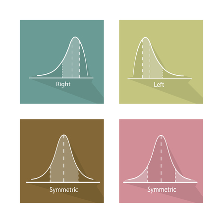 normal distribution: Flat Icons, Illustration Set of Positve and Negative Distribution Curve and Normal Distribution Curve.
