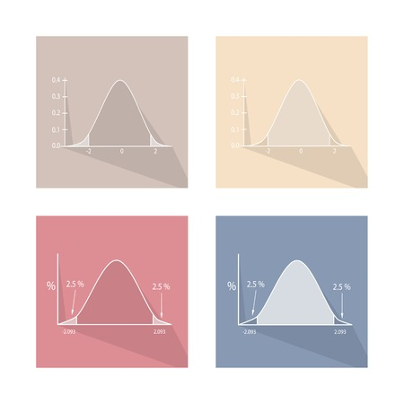 normal distribution: Charts and Graphs, Collection of Gaussian Bell Curve or Standard Normal Distribution Curve. Illustration