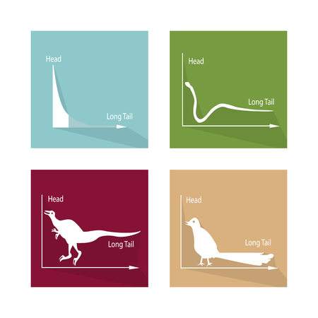 hyper: Charts and Graphs, Illustration Animal Cartoon of Fat Tailed and Long Tailed Distributions Chart Label. Illustration