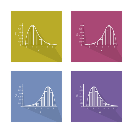 standard deviation: Flat Icons, Illustration Collection of Gaussian Bell Chart or Normal Distribution Curve and Not Normal Distribution Curve.