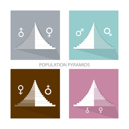 Bevolking en demografie, Illustratie van Detail van de bevolking Pyramids Grafiek of Age Structuur Graph Afhankelijk van geslacht.
