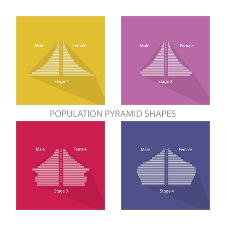 population growth: Population and Demography, Illustration Set of Four Stages of Population Pyramids Chart or Age Structure Graph. Illustration