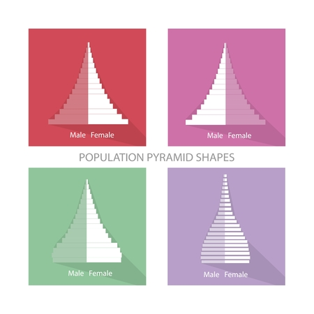 demography: Population and Demography, Illustration of Different Types of Population Pyramids Chart or Age Structure Graph.
