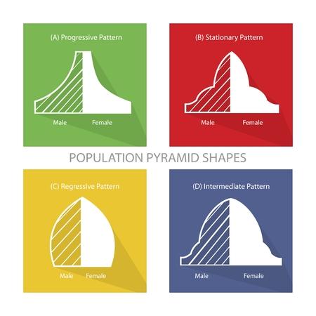 demografia: Población y Demografía, ilustración Conjunto de cuatro tipos de pirámides de población Gráfico o Gráfico Edad Estructura. Vectores