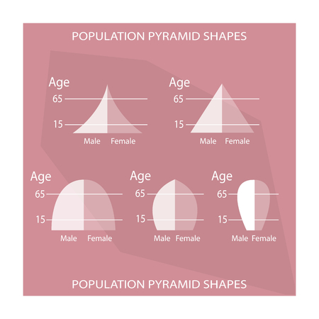 age 5: Population and Demography, Illustration Set of 5 Types of Population Pyramids Chart or Age Structure Graph. Illustration