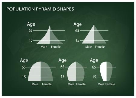 demografia: Población y Demografía, Ilustración Conjunto de 5 Tipos de pirámides de población Gráfico o estructuras de envejecimiento Gráfico en el fondo de la pizarra.