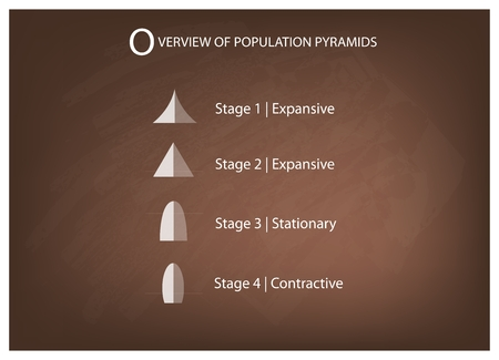 age 5: Population and Demography, Illustration Set of 5 Types of Population Pyramids Chart or Age Structure Graph on Chalkboard Background.