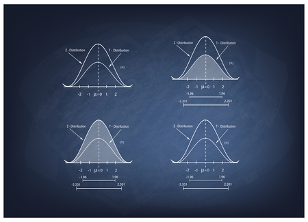 gaussian distribution: Business and Marketing Concepts, Illustration Collection of Positve and Negative Distribution Curve or Normal Distribution Curve and Not Normal Distribution Curve on Chalkboard Background. Illustration