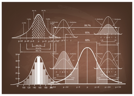 Negocios y Marketing Concepts, Ilustración de Desviación Estándar Diagrama, Gauss o distribución normal de Bell Curve Pirámide de población Gráfico de Determinación Tamaño de la muestra. Ilustración de vector