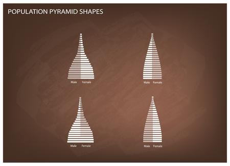 demografia: Población y Demografía, Ilustración de 4 Tipos de pirámides de población Gráfico o estructuras de envejecimiento Gráfico en el fondo de la pizarra. Vectores