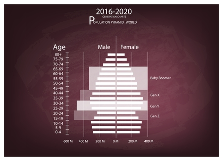 population growth: Population and Demography, Illustration of Population Pyramids Chart or Age Structure Graph with Baby Boomers Generation, Gen X, Gen Y and Gen Z in 2016 to 2020.