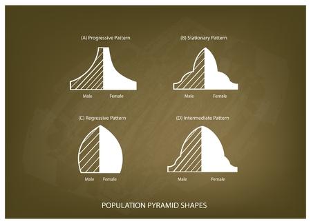 demografia: Población y Demografía, Ilustración Conjunto de 4 Tipos de pirámides de población Gráfico o estructuras de envejecimiento Gráfico en el fondo de la pizarra.