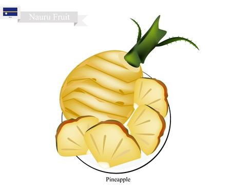 Thai dessert: Nauru Fruit, Illustration of Pineapple. One of The Most Popular Fruits in Nauru.