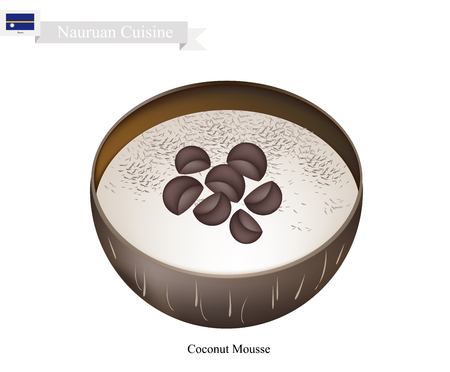 mousse: Tuvaluan Cuisine, Fresh Mousse and Coconut. One of The Most Popular Dessert in Tuvalu. Illustration