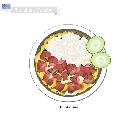 Tuvaluan Cuisine, Illustration of Traditional Rice Salad with Tuna and Vegetables. One of The Most Popular Dish in Tuvalu. Vector Illustration