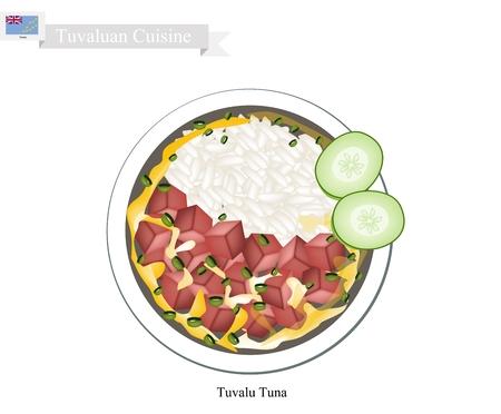 Tuvaluano de cocina, Ilustración de la tradicional ensalada de arroz con atún y verduras. Uno de los platos más populares en Tuvalu. Ilustración de vector
