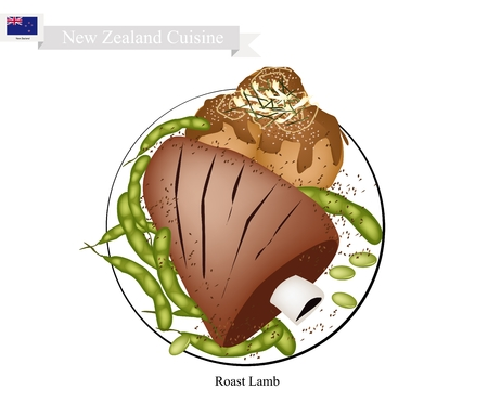 New Zealand Cuisine, Illustration of Traditional Roasted Lamb Rack with Meat Balls. A Popular Dish of New Zealand.