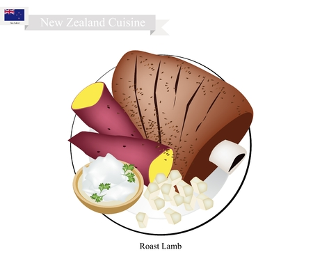 roast lamb: New Zealand Cuisine, Illustration of Traditional Roasted Lamb and Potatoes. A Popular Dish of New Zealand.