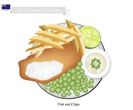 fish and chips: New Zealand Cuisine, Illustration of Traditional Fish and Chips. A Famous Take Away Food in New Zealand.