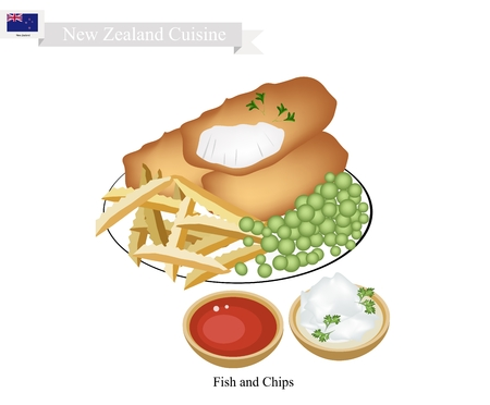New Zealand Cuisine, Illustration of Traditional Fish and Chips. A Popular Take Away Food in New Zealand. Illustration