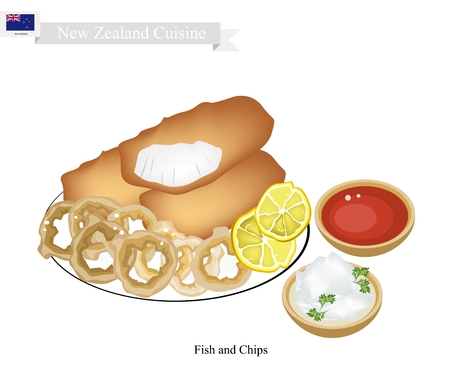 New Zealand Cuisine, Illustration of Traditional Fried Fish with Onion Ring. A Famous Take Away Food in New Zealand.