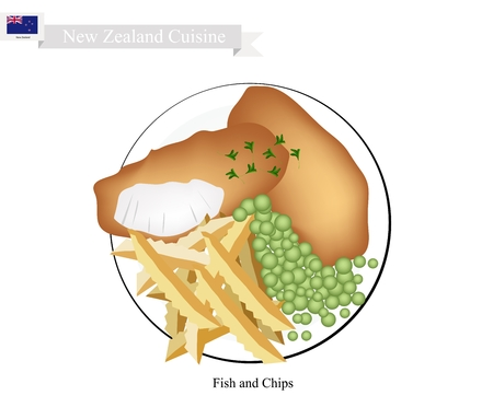 New Zealand Cuisine, Illustration of Traditional Fish and Chips. A Famous Take Away Food in New Zealand.