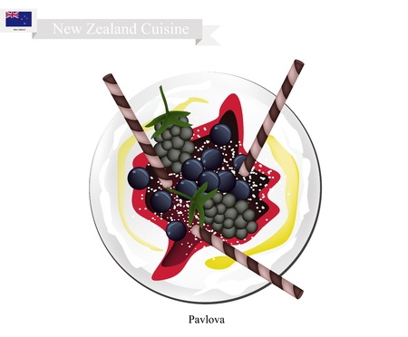 New Zealand Cuisine, Pavlova Meringue Cake Top with Blackberries and Blueberries. One of Most Popular Dessert in New Zealand.