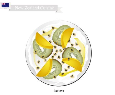 meringue: New Zealand Cuisine, Pavlova Meringue Cake Top with Fresh Kiwifruits and Mangoes. One of Most Popular Dessert in New Zealand.
