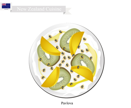 New Zealand Cuisine, Pavlova Meringue Cake Top with Fresh Kiwifruits and Mangoes. One of Most Popular Dessert in New Zealand.