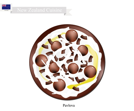 New Zealand Cuisine, Pavlova Meringue Cake Top with Chocolate Candies and Sauce. One of Most Popular Dessert in New Zealand. Illustration